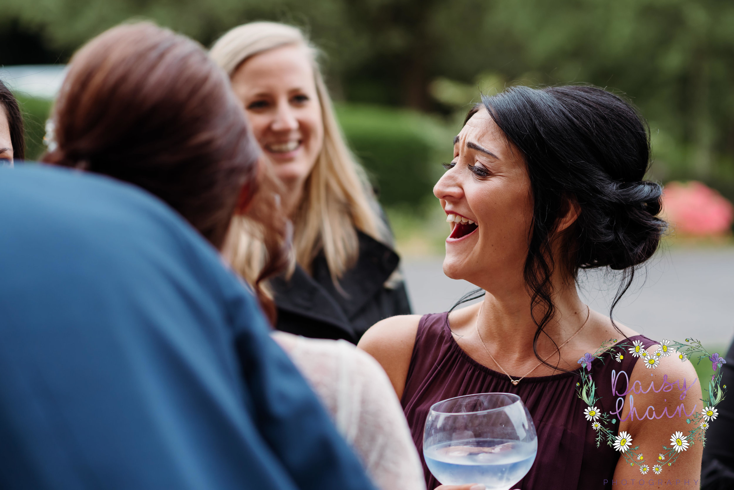 Chief bridesmaid laughing