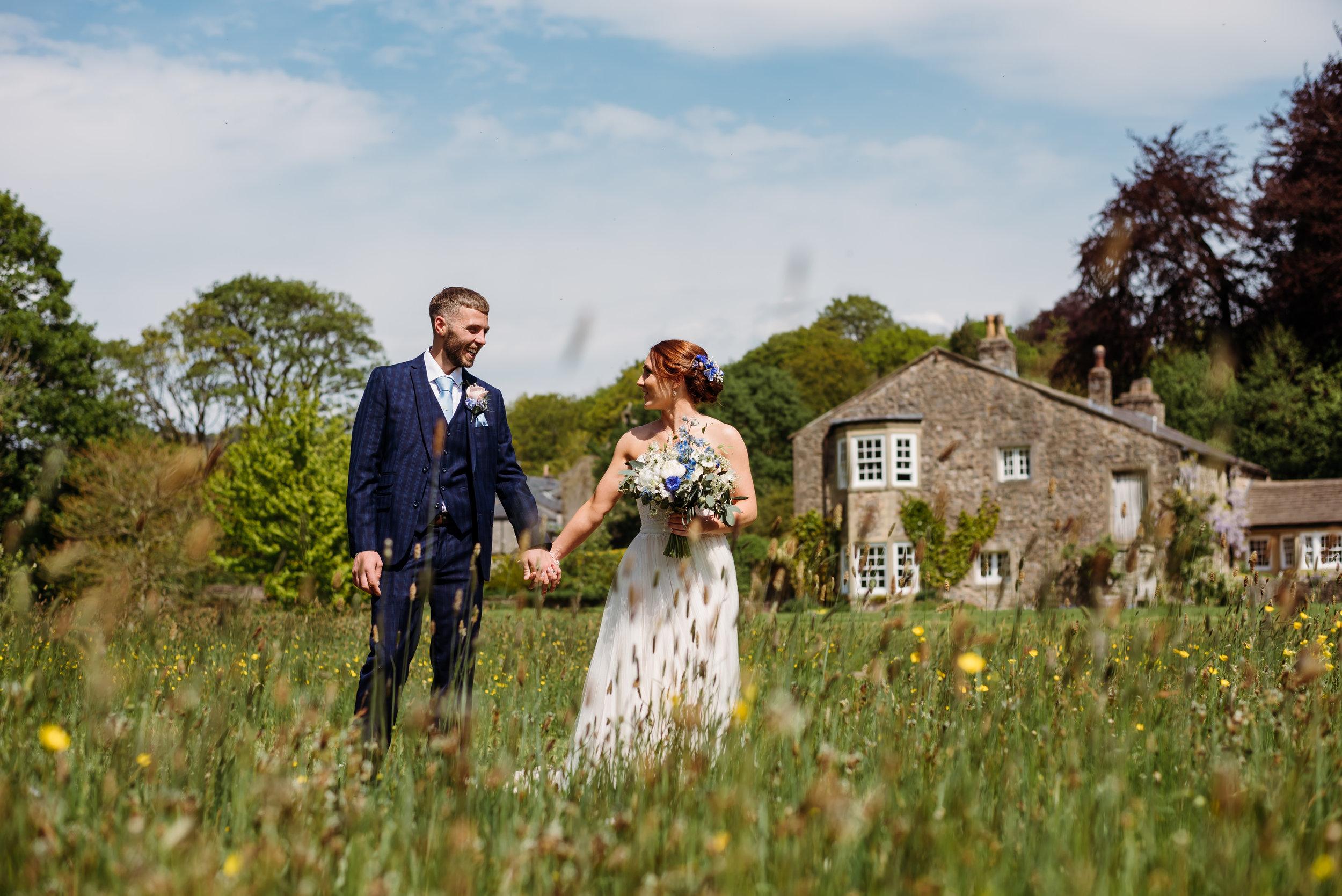 Meadow field wedding portrait