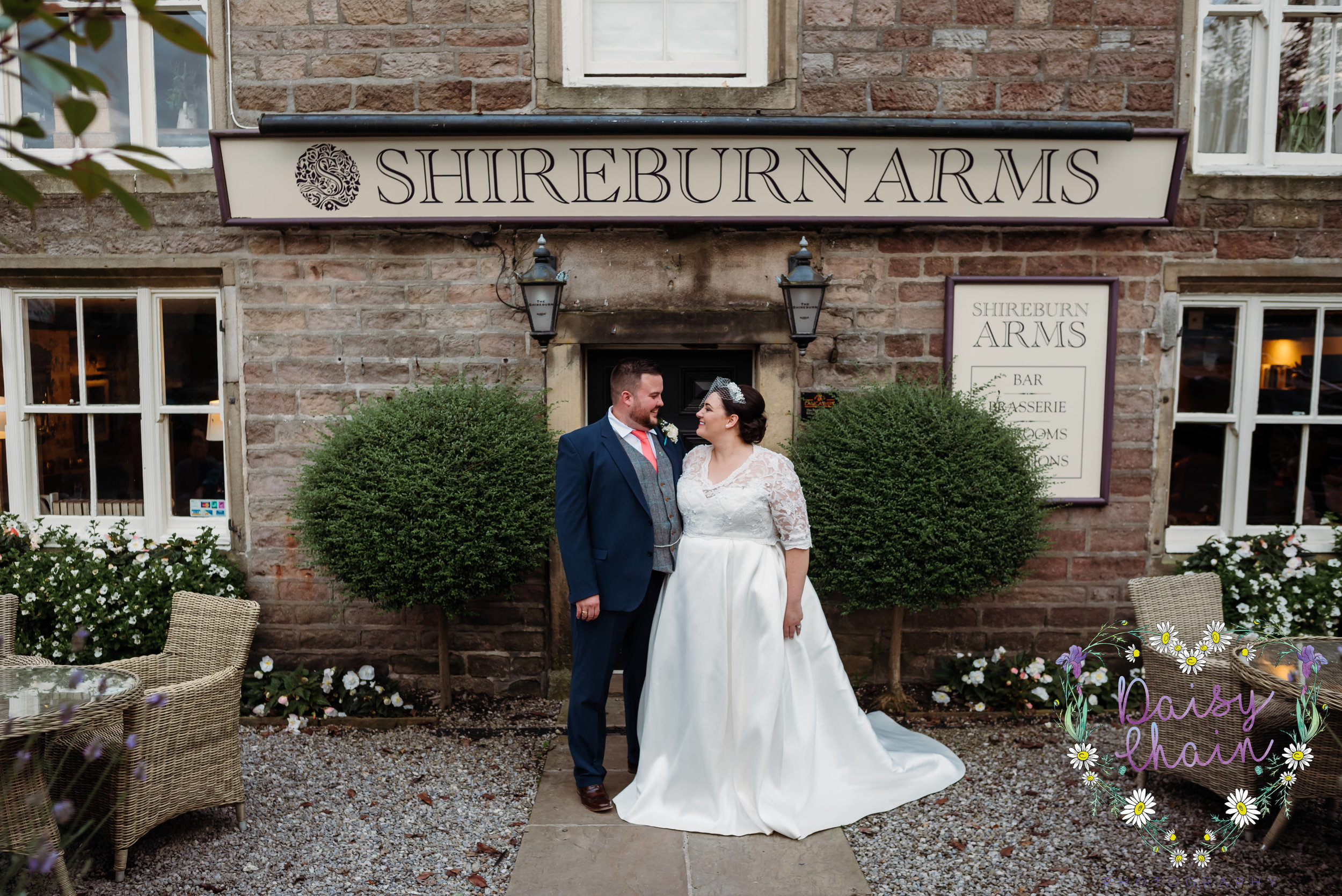 Bride and groom outside the Shireburn Arms