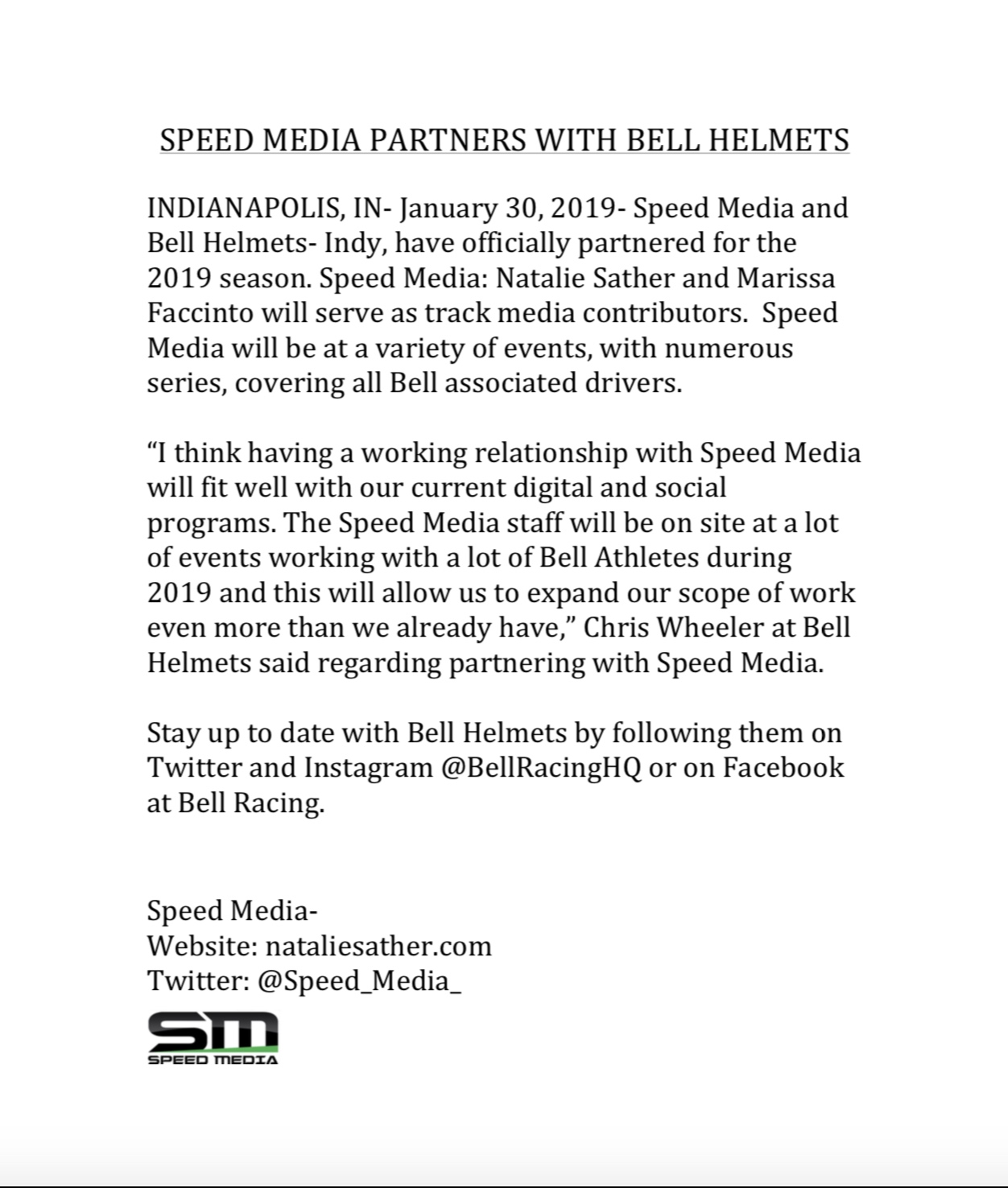 SPEED MEDIA PARTNERS WITH BELL HELMETS