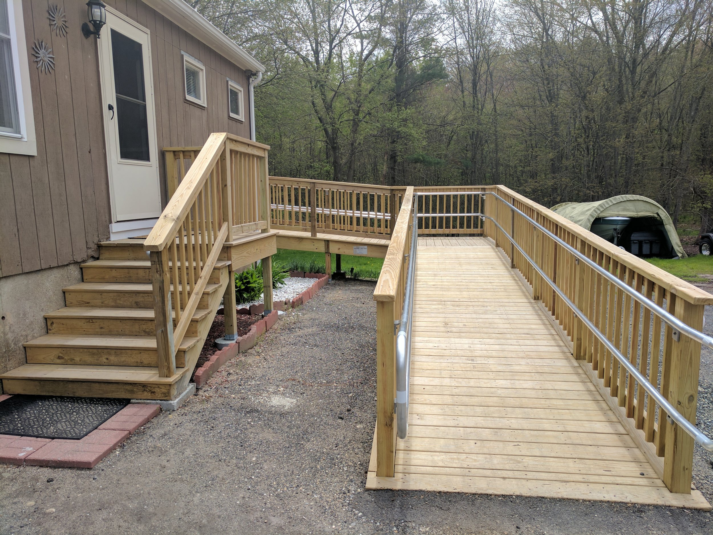 Our accessible wheelchair ramp donated by the Doris L. Benz Trust, built by Mike Hathaway