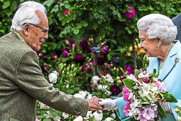 David Austin of England, pictured above meeting HRH Queen Elizabeth II at the Royal Chelsea flower show . Photo credit: Daily Mail.