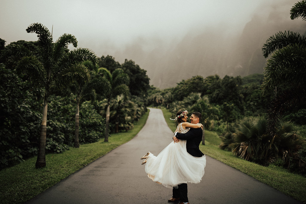Ho'omaluhia Botanical Garden Visitor Center | Bride & Groom Wedding Portraits