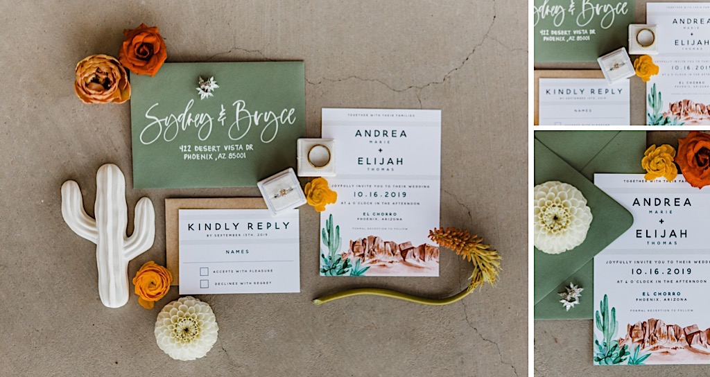 desert theme wedding invitations
