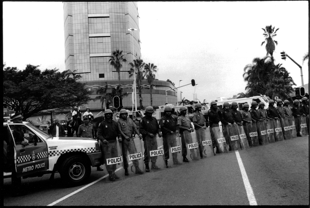 Police Line at World Conference Against Racism