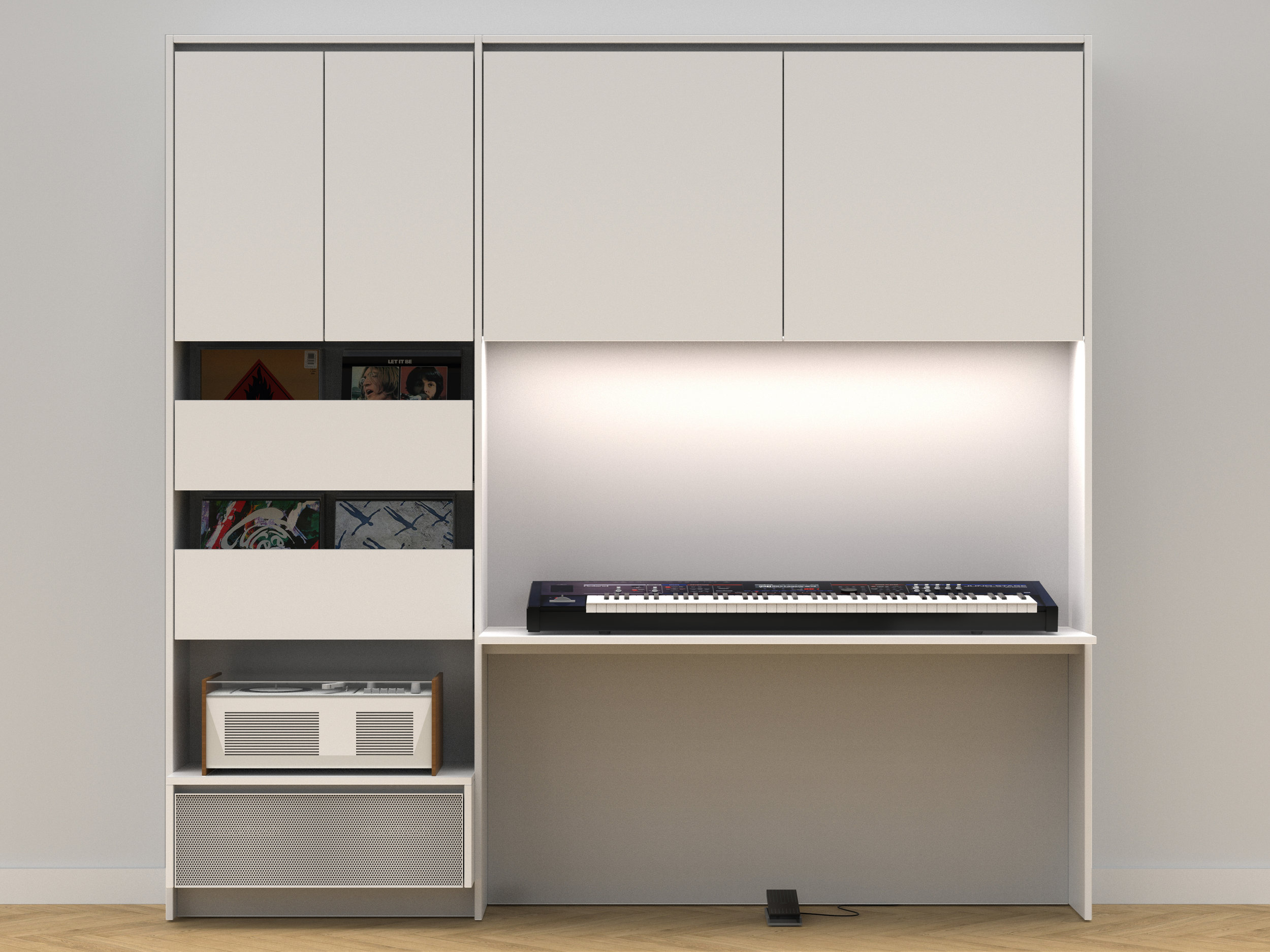 BUILT-IN MEDIA UNIT WALL CUSTOM CABINETRY DESK VANCOUVER ANTHILL STUDIO NEXUS
