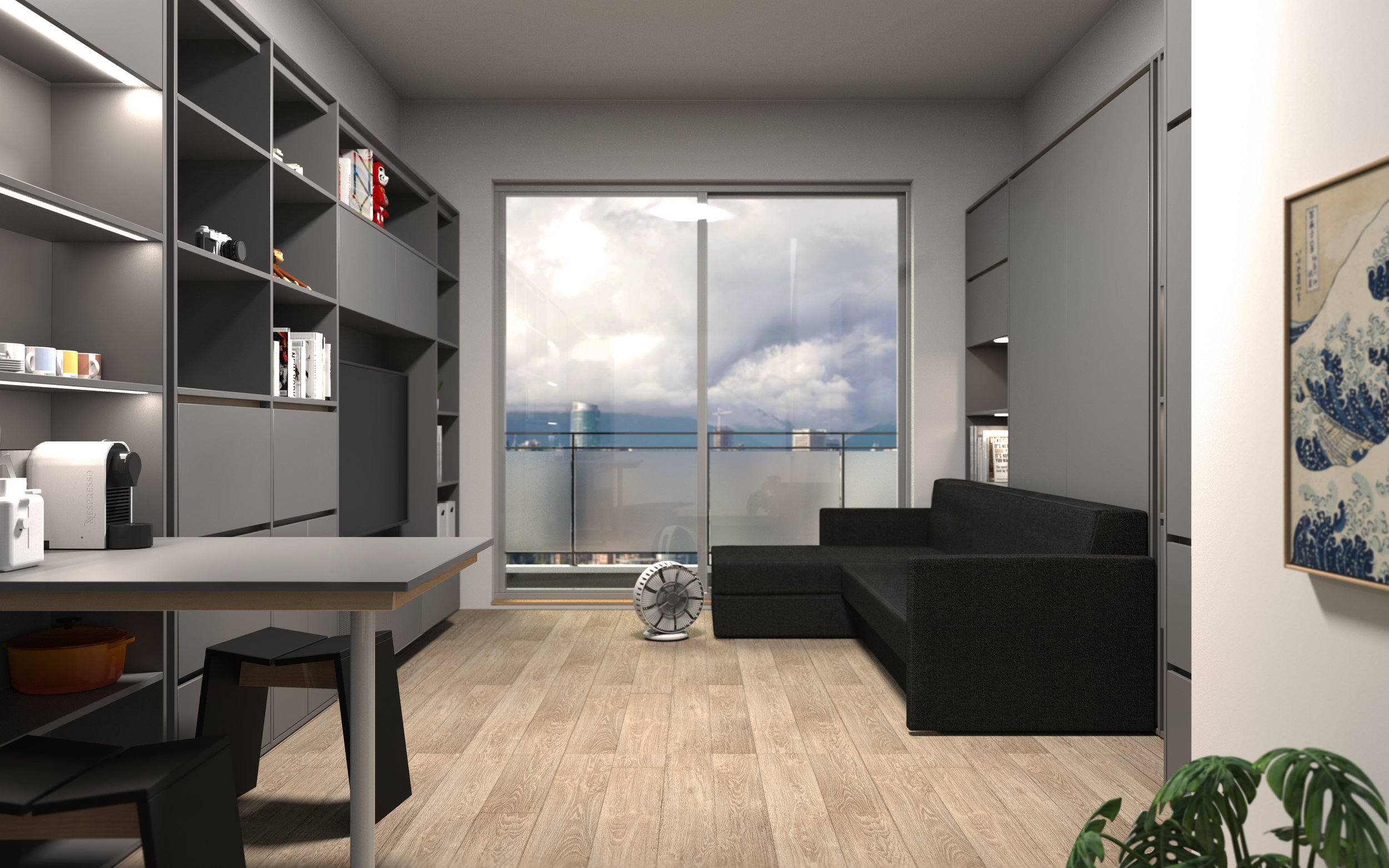 Small space solution interior design built in millwork walled Murphy bed Vancouver Anthill Nexus.jpg