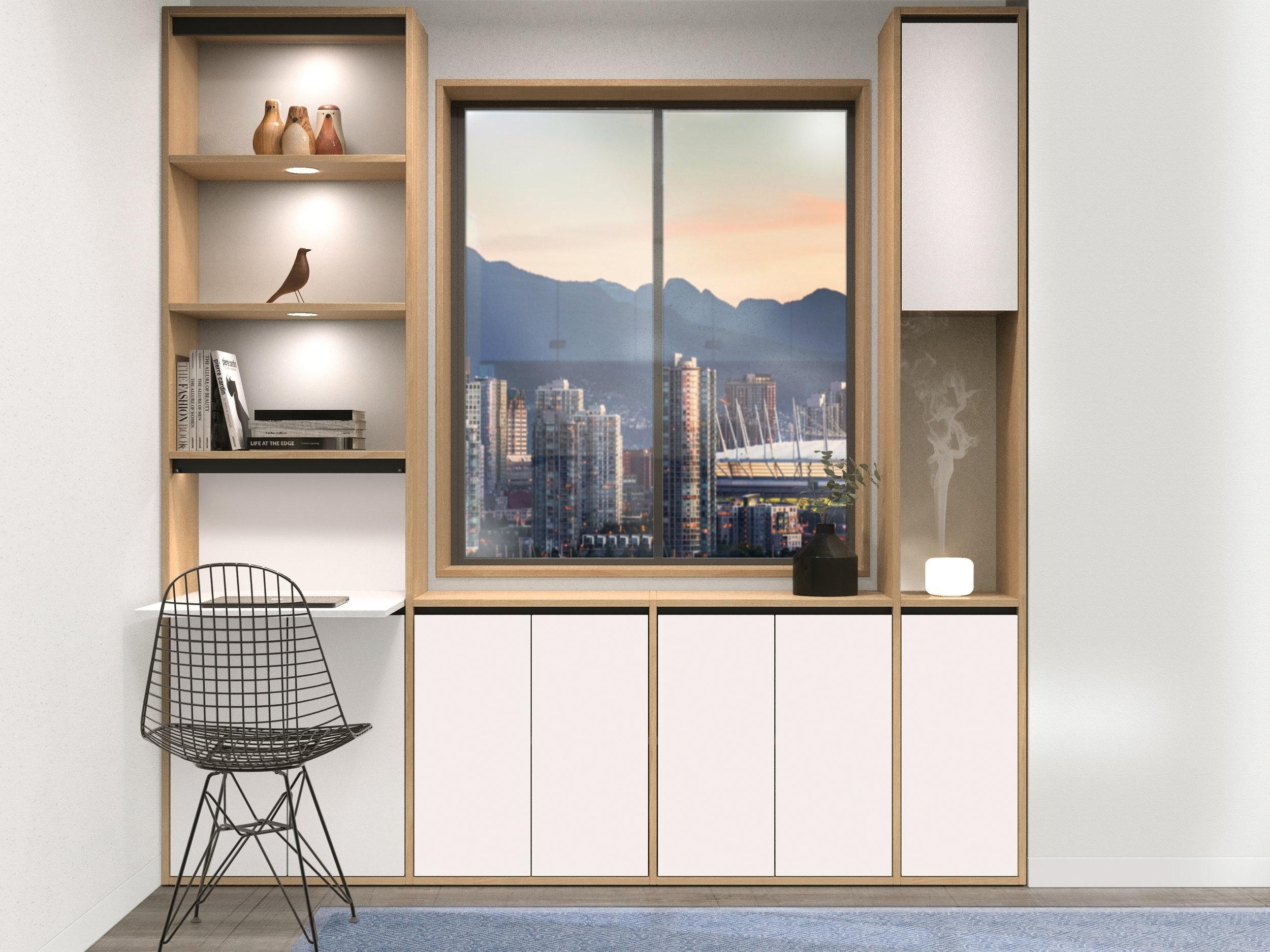 Built in Cabinetry Custom Millwork Foldaway Desk Vancouver Anthill Nexus.jpg