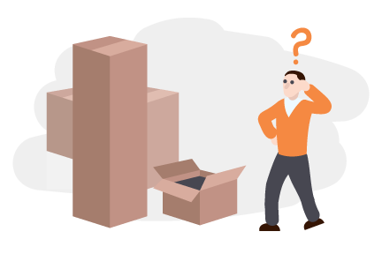 An illustration of a man looking at a large pile of boxes looking confused