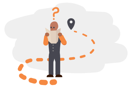 A man looks confusedly at a map, a path leads him to a location icon
