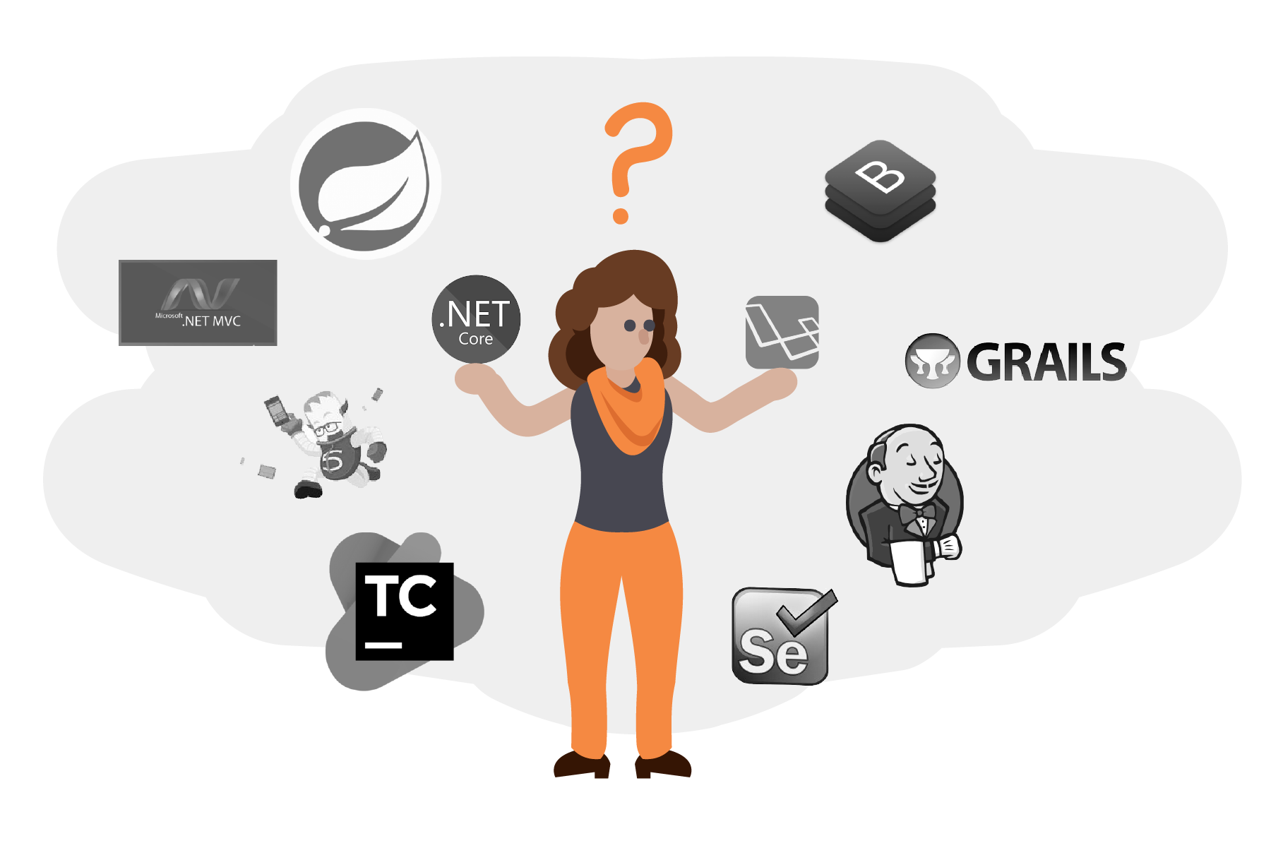 Woman looking overwhelmed at various technology logos