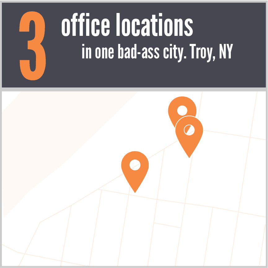 Copy of 3 office locations in one bad-ass city. Troy, NY