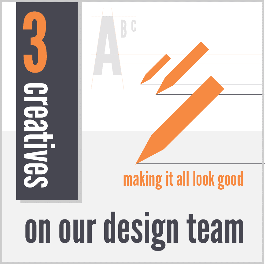 Copy of 3 creatives on our design team making it look good