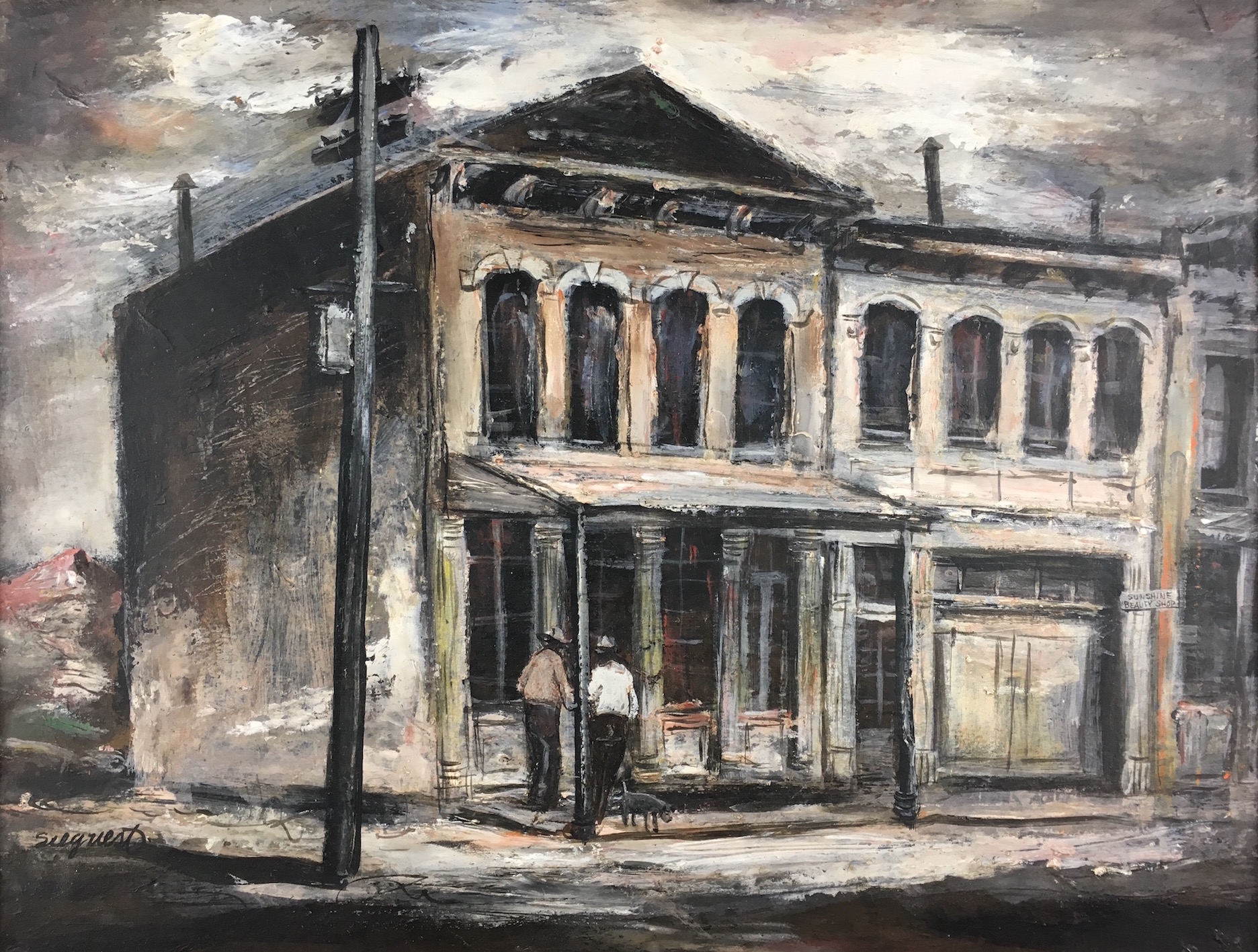 """Louis Bassi Siegriest, Virginia City, oil on board, """"A Comstock Miner's Home"""" Virginia City, 1946, from the Nevada Fine Art Collection."""