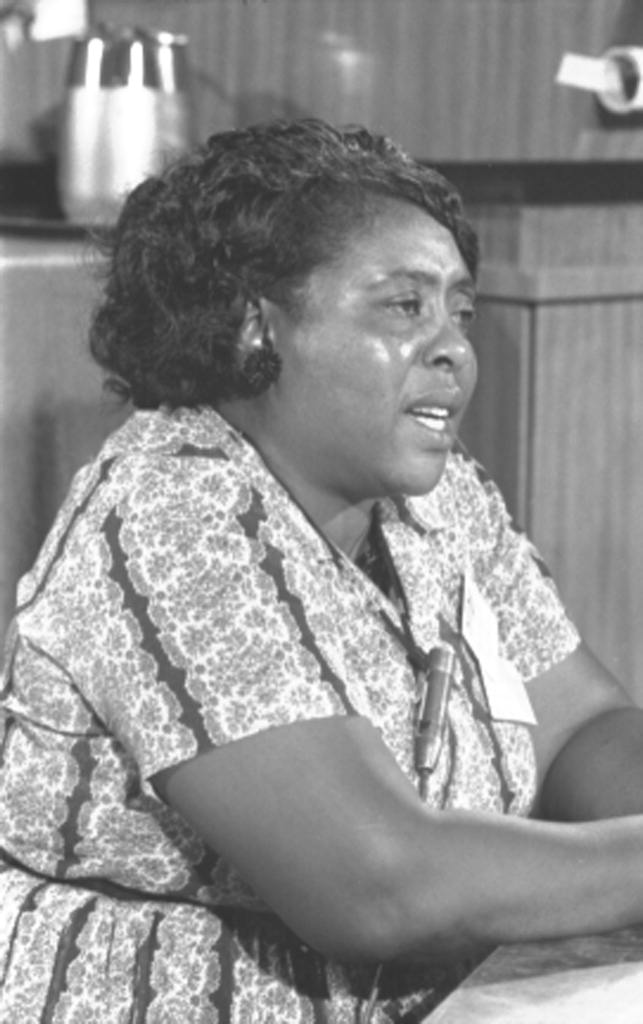 Fannie Lou Hamer serving as a delegate for the Mississippi Freedom Democratic Party at the Democratic National Convention in August, 1964 (Library of Congress).