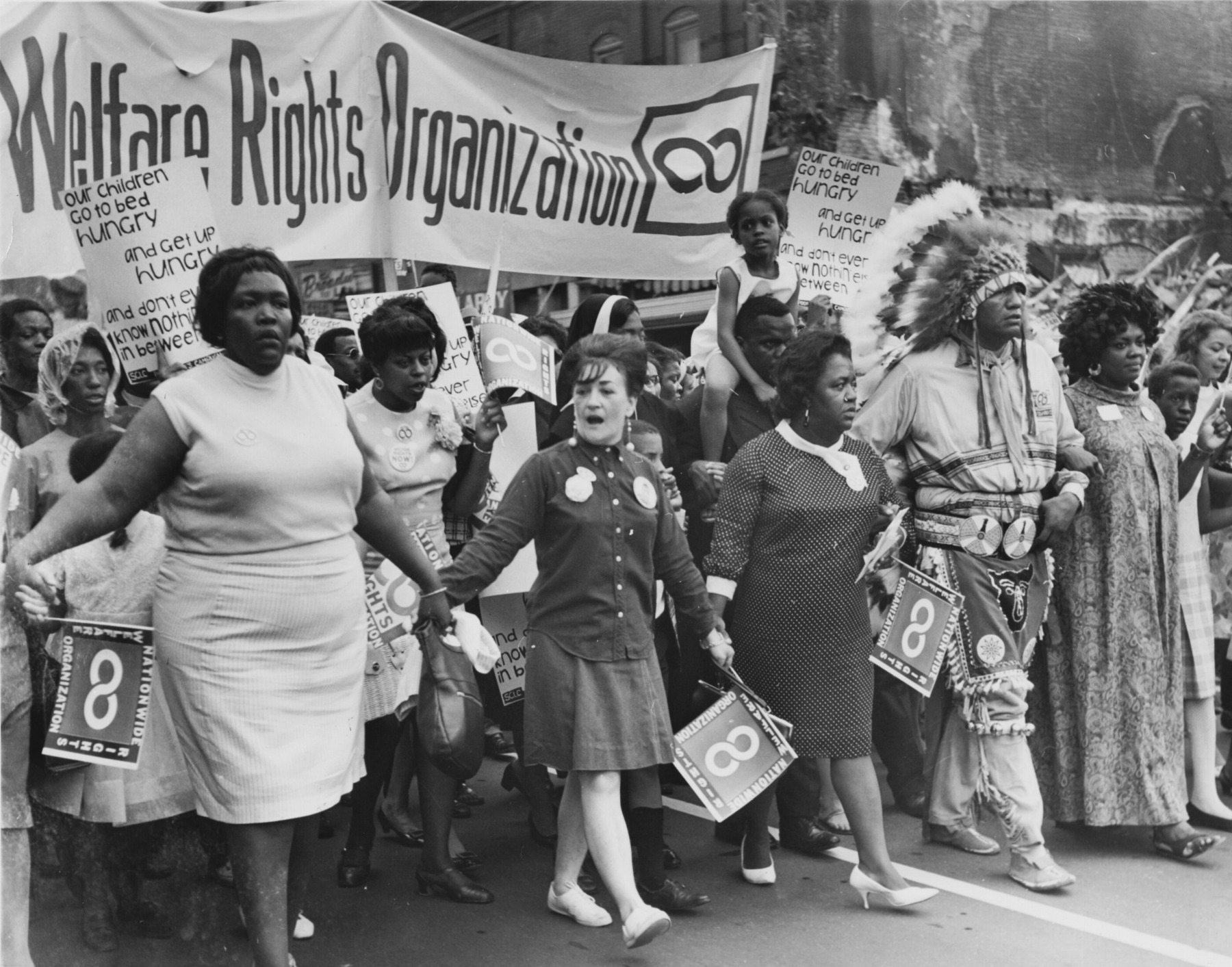 Organizers and volunteers from the National Welfare Rights Organization, marching to end hunger in 1968. (Wikimedia Commons)