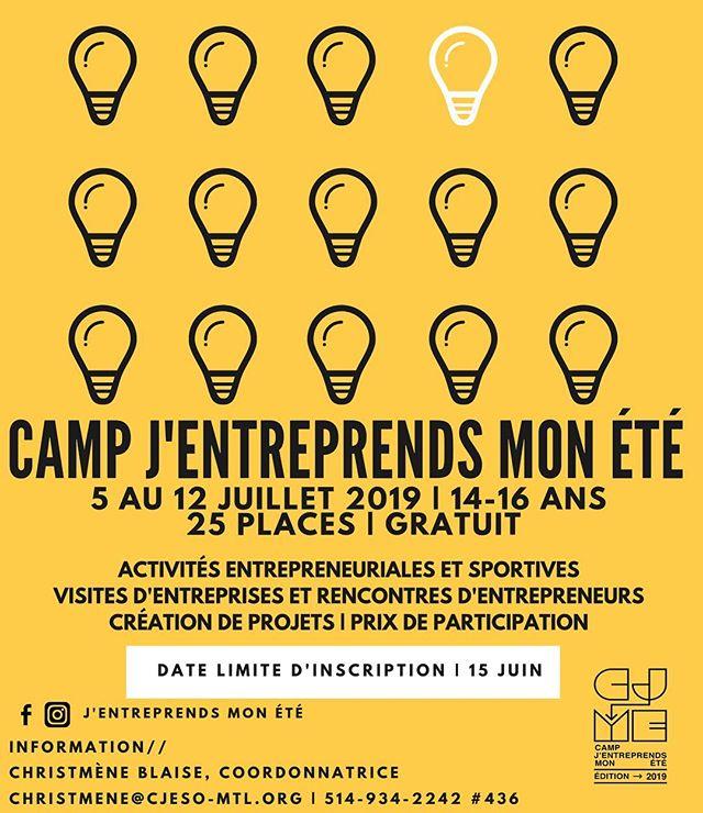 Le camp J'entreprends mon été est de retour pour une 4e édition du 5 au 13 juillet.  25 places sont disponibles alors inscrivez-vous rapidement!  Lien pour inscription dans la bio.  #entrepreneuriat #perseverance #perseverancescolaire #leadership #jeunesse #mtl #montreal