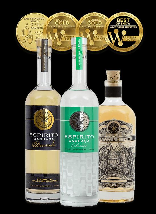Espirito XVI Cachaca - Classico_Dourado Balsamo Aged_Cavaleiro Kentucky Bourbon Barrel Aged Bottles.png