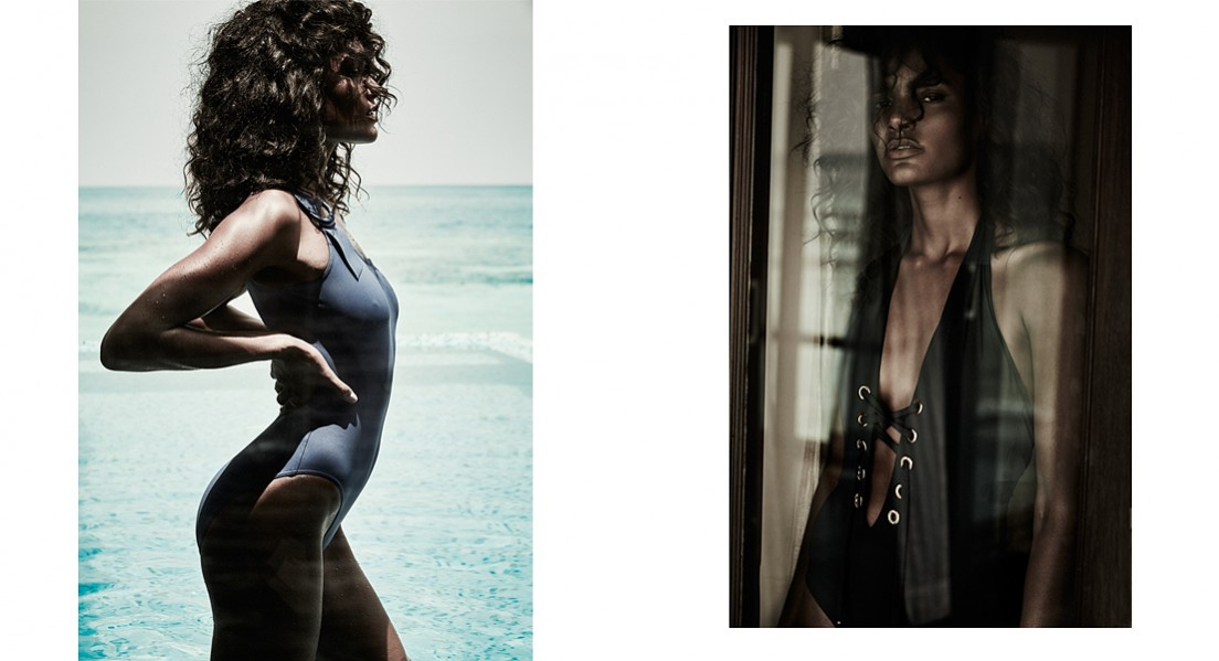 Left: Blue swimsuit:  Eres  / Ring:  London Road Jewellery  Right: Swimsuit: stylist's own