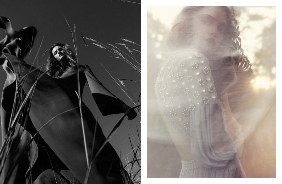 Left | Dress: Valentino Right | Dress: Temperley London / Rings: Cornelia Webb