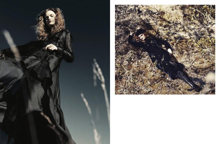 Left | Dress and chiffon coat: Antonio Berardi / Rings: Cornelia Webb (as before) Right | Velvet Dress and Hat: Prada / Boots: Preen by Thornton Bregazzi