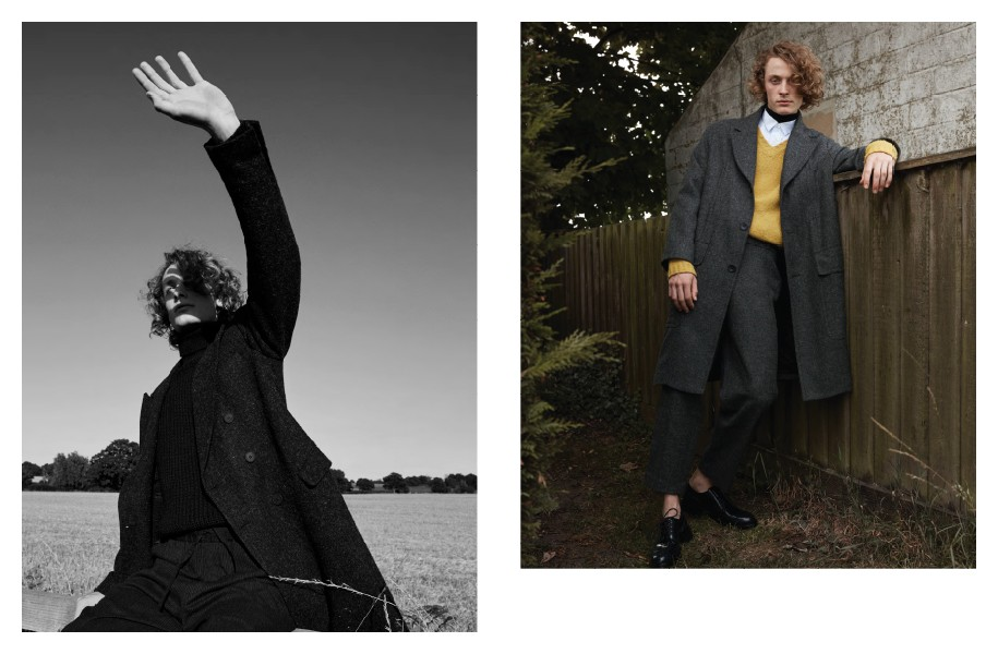 """Left"""" Coat: BLK DNM / Fisherman's jumper: Carrier Company / Trousers: YMC Right: Coat and trousers: Lou Dalton / Roll neck: Sunspel / Shirt: Our Legacy / Jumper: Marni / Shoes: Versace"""