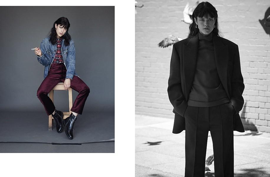 LEFT: Jacket: Alexander Wang @ Net-A-Porter.com / Shirt: R13 @ Net-A-Porter.com Trousers: Paige / Boots: Belstaff / Hoop earrings: Dinny Hall RIGHT: All clothes: Céline / Hoop earrings: Dinny Hall