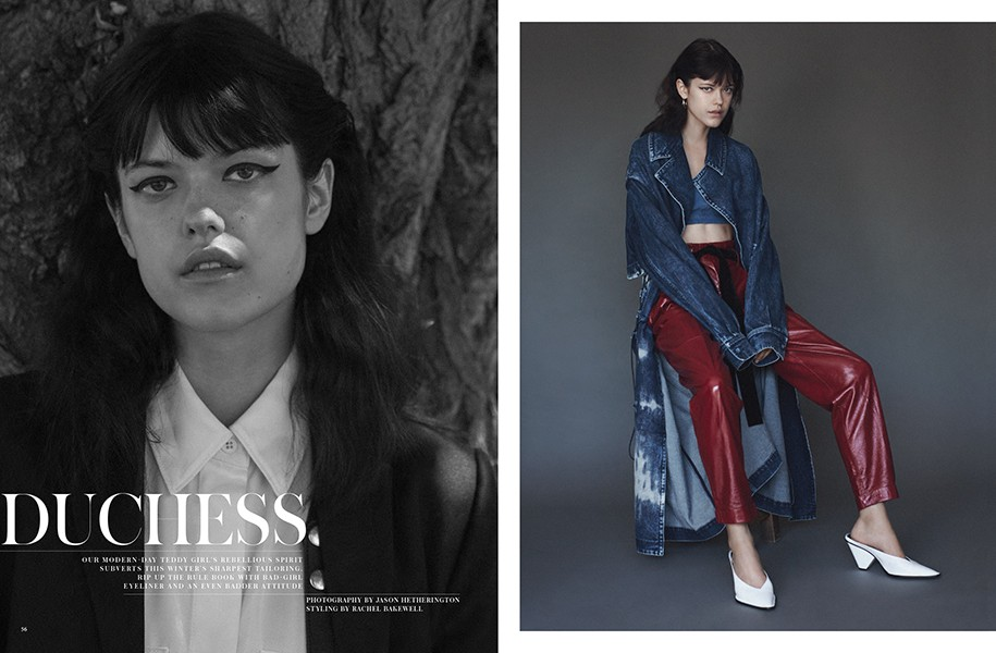 LEFT: Coat: DSquared2 / Shirt and braces: Mulberry RIGHT: Coat: Stella McCartney / Trousers and shoes: Philosophy / Bra: J Brand @ Net-A-Porter.com / Hoop earrings (worn throughout): Dinny Hall