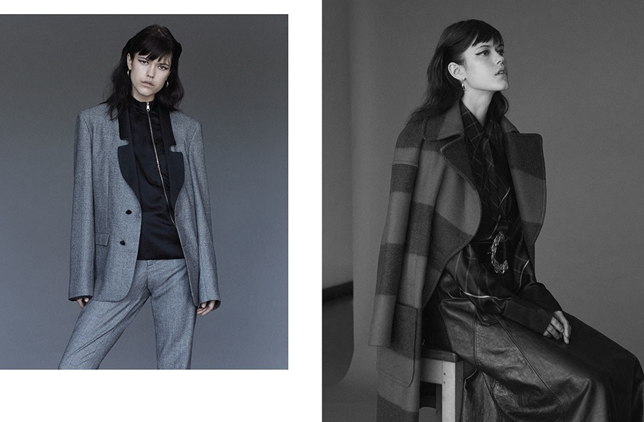 LEFT: Suit: Osman / Top: Dior RIGHT: Coat: M.i.h Jeans / Shirt: Rag & Bone / Skirt: Chloé / Belt: Osman / Hoop earrings: Dinny Hall
