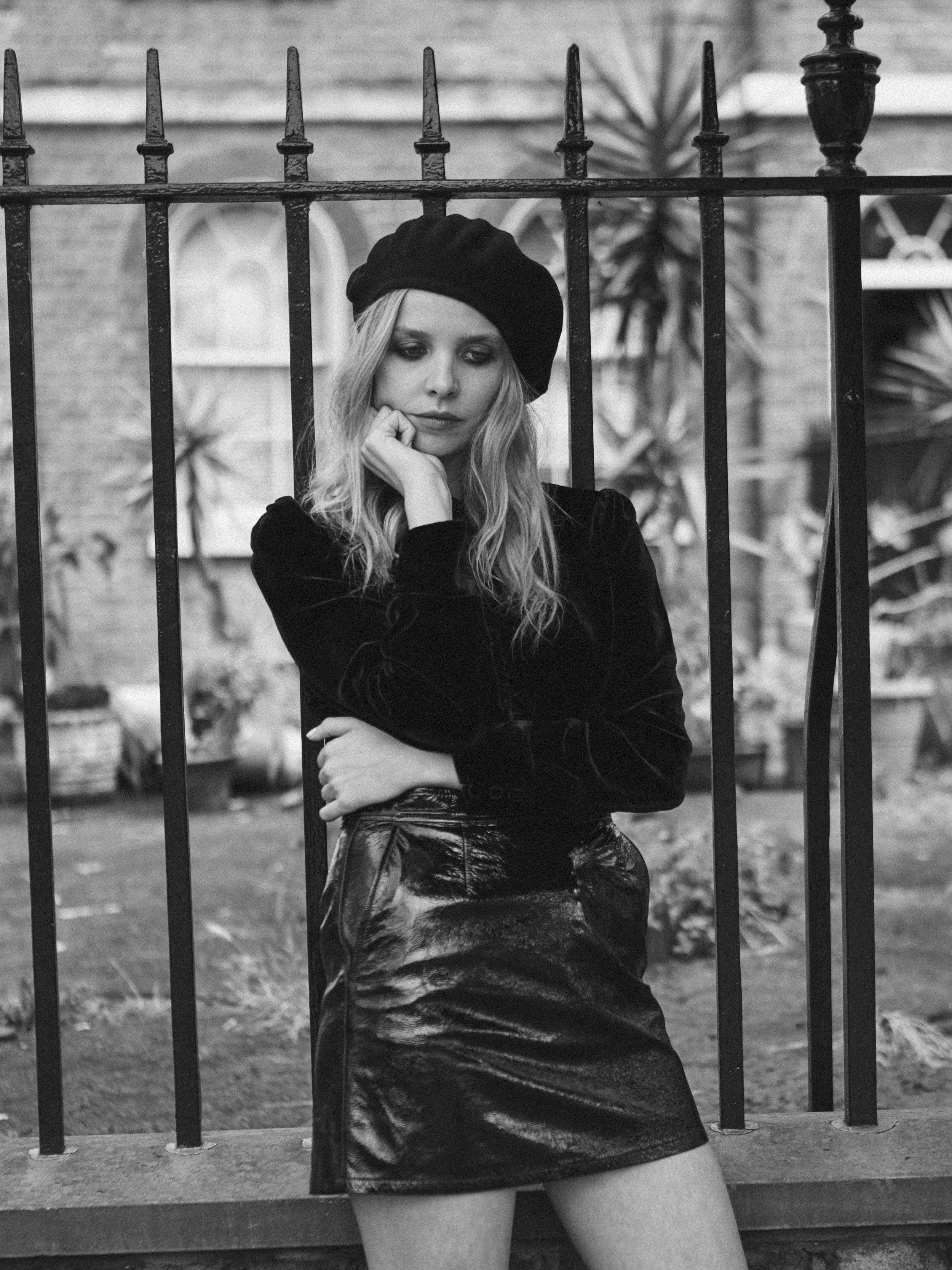 Skirt & shirt by Frame Denim, beret by Gucci