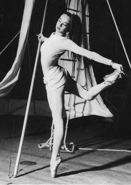 Aged 17, dancing in La Rencontre at the Ballet des Champs-Élysées, where Gene Kelly discovered her