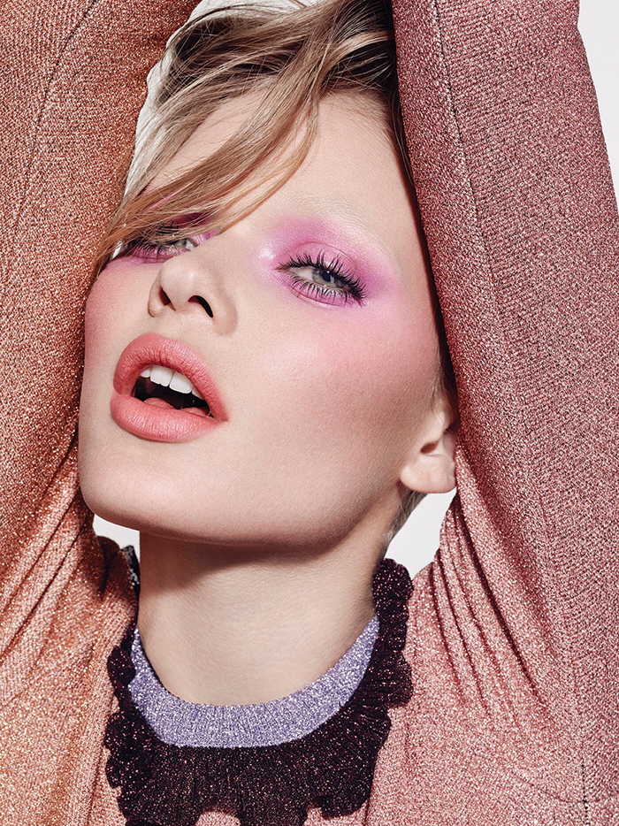 [On eyes] Casual Colour in Young at Heart / Eyeshadow in Pink Venus / InstacurlLash Mascara / [On lips] Lipstick in Costa Chic. All make-up by MAC Lurex knit - Roksanda