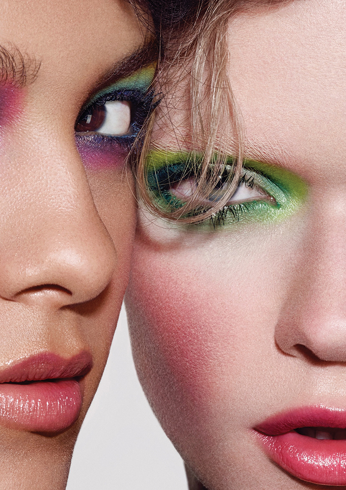 Eyeshadows in Plum Dressing, Lucky Green, Aquadisiac and Chrome Yellow / Chromaline Pencils in Marine Ultra and Landscape Green Both models wear Blush in Desert Rose and patent Polish Lip Pencil in Kittenish. All make-up by MAC