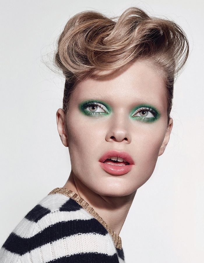Eyeshadows in New Crop and Nylon / Huggable Lipcolour in Bonsai Bloom. All make-up by MAC Stripe knit: Gucci @ Net-A-Porter.com