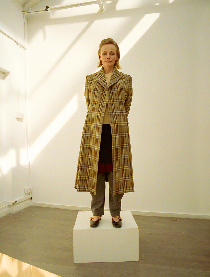 Coat and dress:  Toga Pulla /  Trousers:  Chalayan /  Shoes:  Yuul Yie