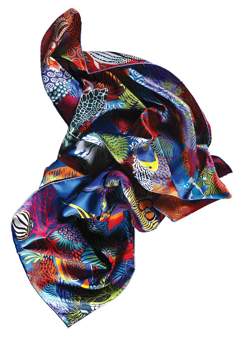 Under The Waves  silk scarf:  Hermès