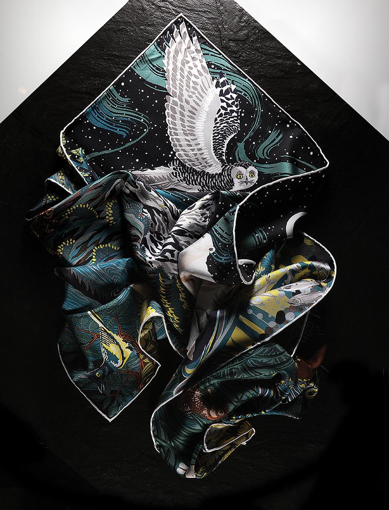 Into The Canadian Wild  silk   scarf:  Hermès