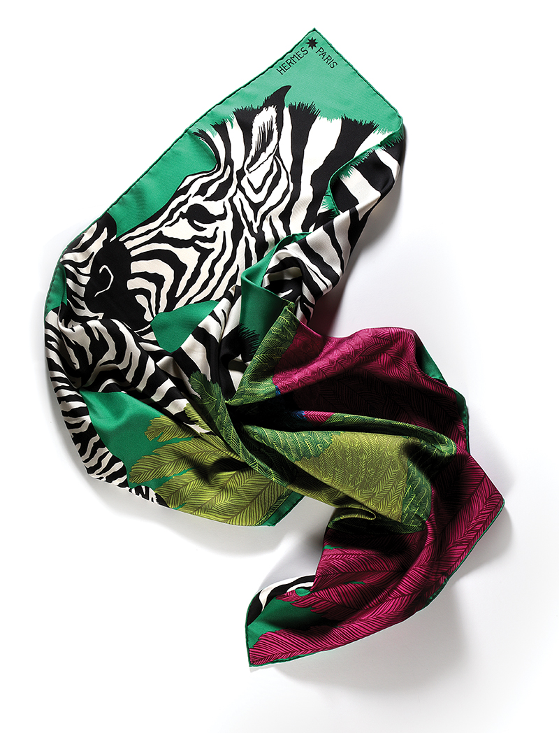 Zebra Pegasus  silk scarf:  Hermès