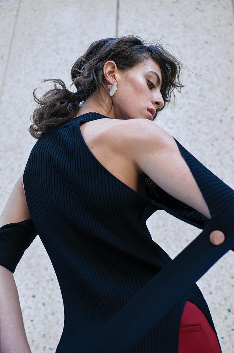 Black top:  Eudon Choi / Trousers:  Vilshenko / Earrings:  By Pariah