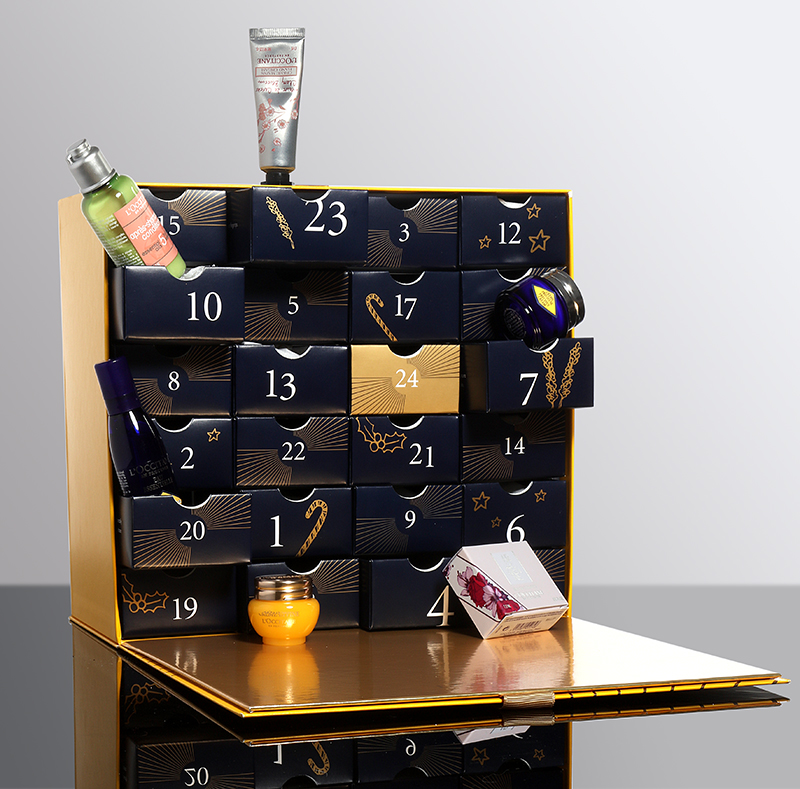 L'Occitane   Make the countdown to Christmas 2017 even more exciting with this luxury Advent Calendar. Open a drawer a day to discover a L'OCCITANE treasure hidden within. From fragrances, to hand creams, you will find an array of products to help you to relax and pamper during the festive period.    L'Occitaine Luxury Advent Calendar - £89.00