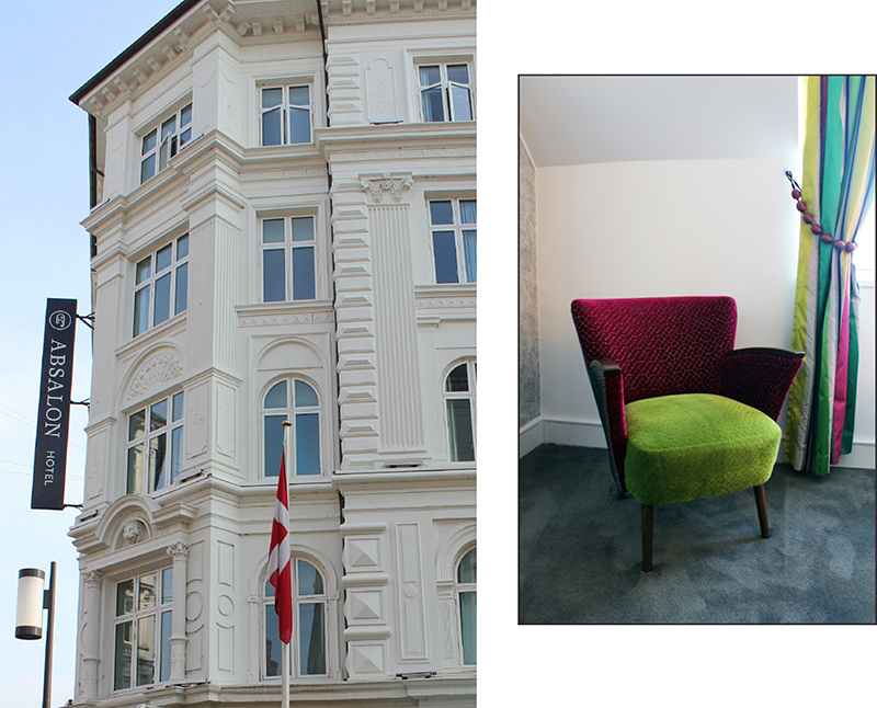 Left: Exterior view of Absalon Hotel / Right: Designers Guild interior