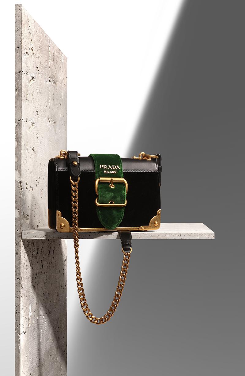 PRADA  Cahier  velvet shoulder bag via mytheresa.com – £1,550.00