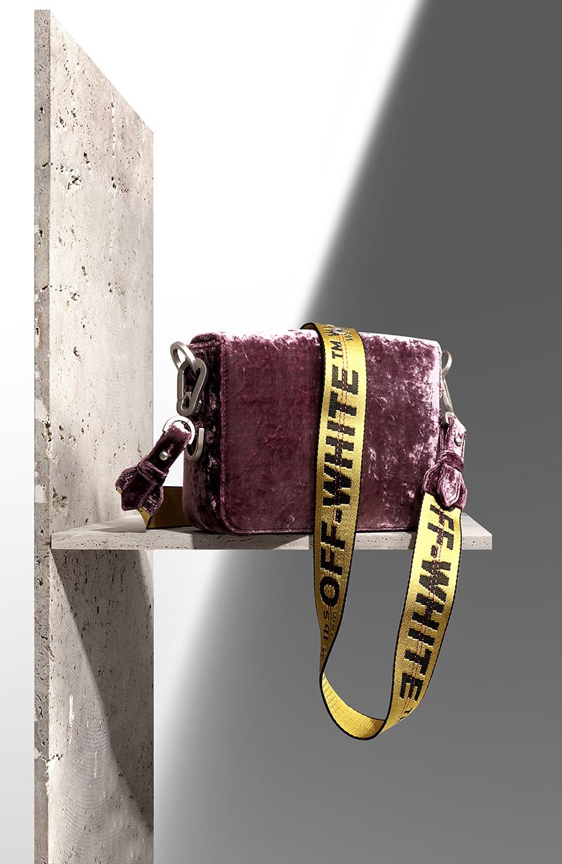 OFF-WHITE Binder Clip velvet shoulder bag via mytheresa.com – £738.00