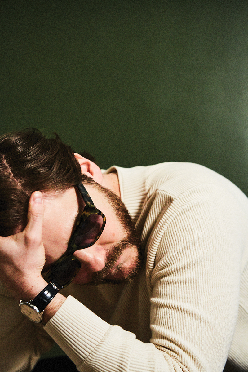 Ribbed sweater:  Sunspel  at  matchesfashion.com /   Buster  sunglasses:  Black Eyewear  / Watch: Daniel's own
