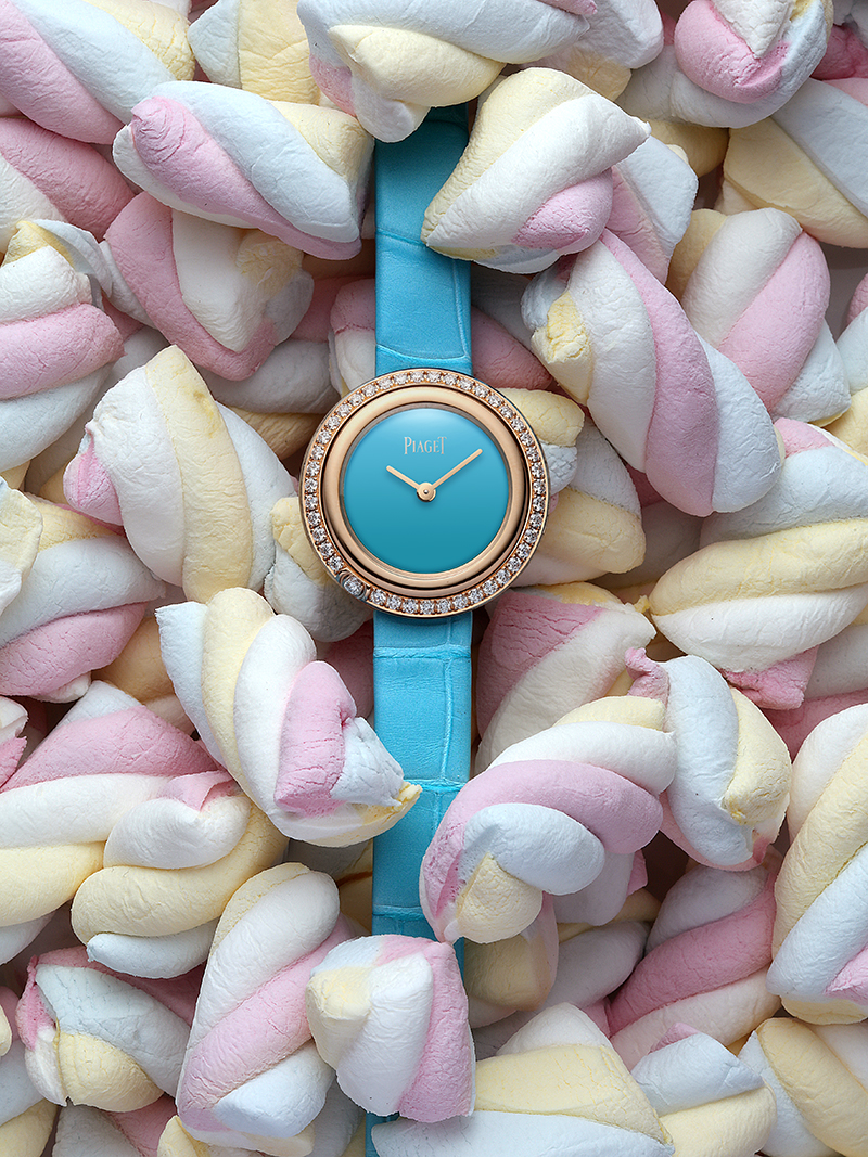 PIAGET  Possession  watch in pink gold, diamonds and Turquoise dial with alligator strap – £16,800.00 (BOUTIQUE EXCLUSIVE)
