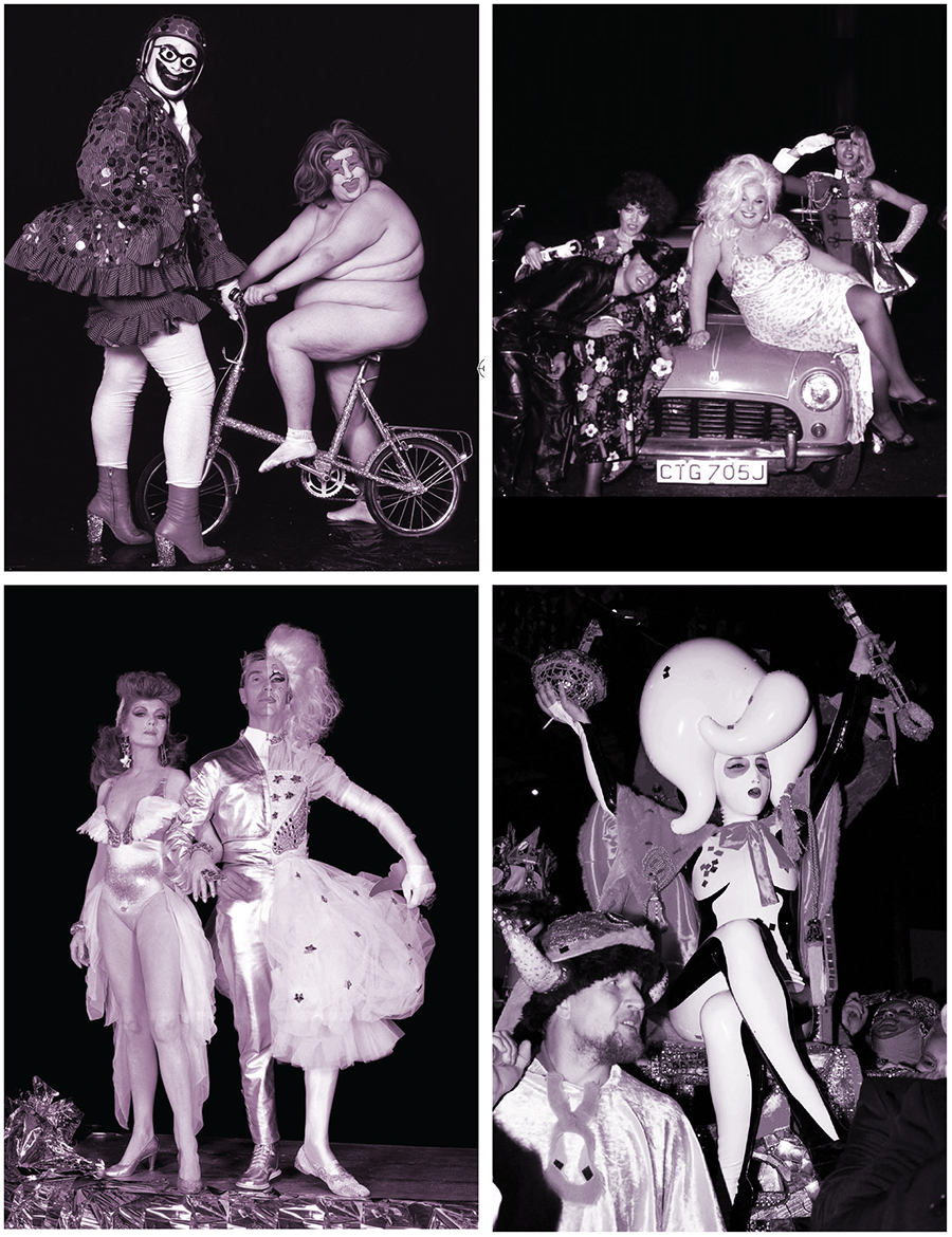 Clockwise from top left: Leigh Bowery and Fat Jill at  The Alternative Miss World,  1986 / Logan with co-host Divine, and friends, in 1978 / Winner Miss Zero + at  The Alternative Miss World , 2014 / Logan and co-host Rula Lenska in 1991