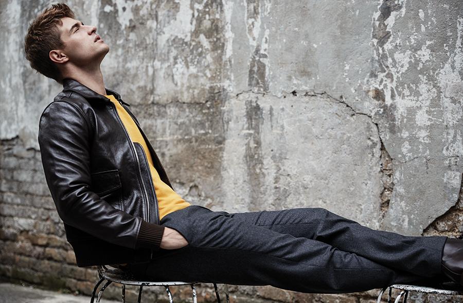 Leather bomber jacket:  Officine Générale /  Yellow sweat:  MC Overalls /  Trousers:  Prada  @  matchesfashion.com /  Boots:  Grenson