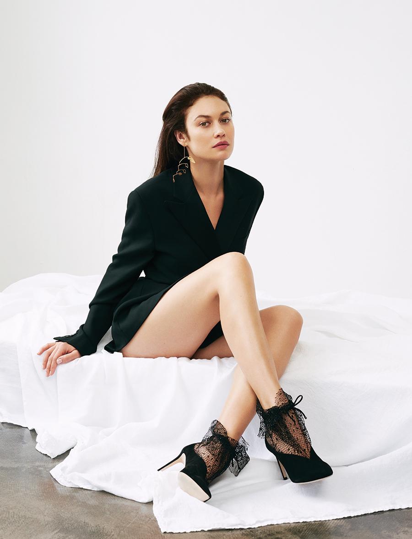 Double-breasted silk tuxedo jacket:  Ralph Lauren Collection /  Heels:  Jimmy Choo /  Earring:  Ooak