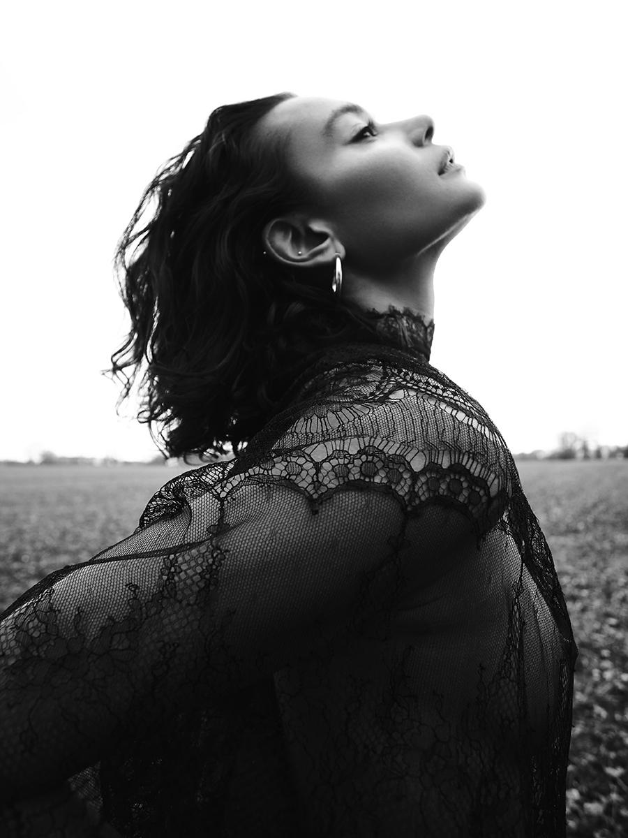 Chantilly lace cape:  Maria Lucia Hohan  @  matchesfashion.com /  Earrings:  Georgiana Scott