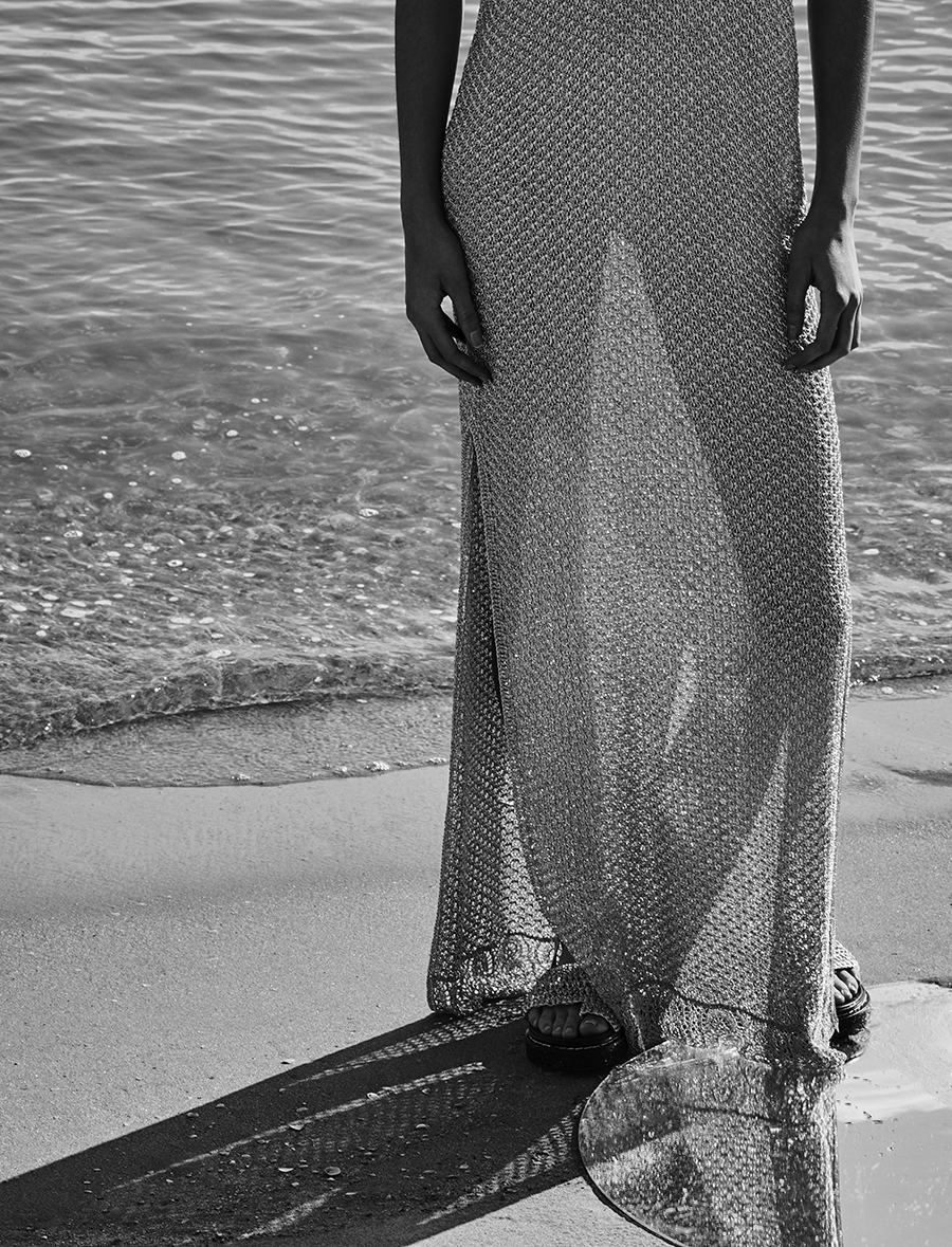 Silver knitted dress and silver knitted platform sandals:  3.1 Phillip Lim